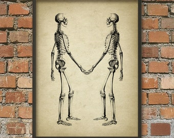 Skeletons Holding Hands Antique Anatomy Wall Art Poster - Antique Home Decor - Anatomy Wall Art