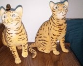 Matching Cat Figurines Tiger Striped Flocked Plastic Cats Playful Kitten Ornaments by Toy Concepts.