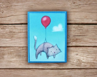Fridge Magnet - Cat with red baloon, Magnetic illustrations, gift idea with paint printed on paper