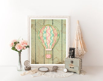 Vintage Hot Air Balloon,Hot Air Balloon Printable,Hot Air Balloon, Hot Air Balloon Decoration,Nursery Hot Air Balloon 0031