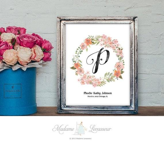 Diy Wall Decor For Birthday : Items similar to nursery wall art floral wreath monogram