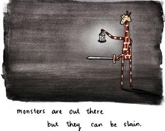 Motivating Giraffe - Monsters - 8x11 A4 Print