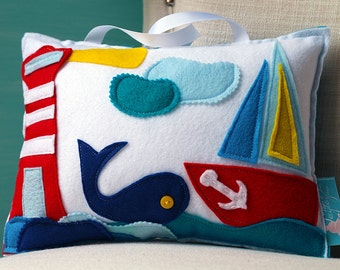 Whale Pillow, Baby Whale, Nautical Baby Decor, Nautical Pillow, Nautical Nursery, Tooth Fairy Pillow, Sailor Girl, Baby Whale, LIGHTHOUSE