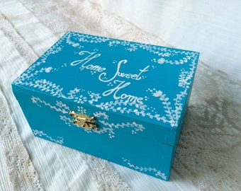 Home Sweet Home , Home decor box, turquoise decorative storage box