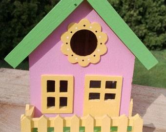 Bird House, Wooden Bird House, Hand Painted, Yard Art, Garden Art, Cottage Style Bird House, Garden Decor, Outdoor Art