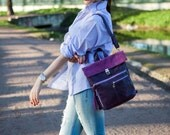 Leather Backpack Purse, Purple Rucksack, women bag, leather Backpack, Hipster Backpack , Rucksack BackPack , Purple Soft Leather & Suede