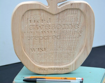 Teacher Appreciation Gift--Apple--Personalized--Hardwood--Free Shipping