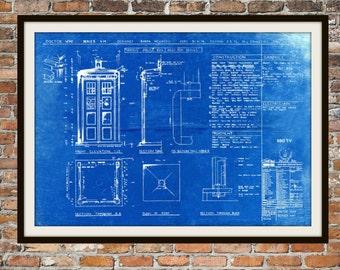 Tardis Print Poster, Dr Who Blueprint, The Tardis Blueprint, Art of The Tardis, Whovian Gift - Police Box Print Art Item 0101