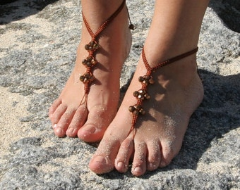 Beaded Shamballa Barefoot Sandals Payal Toe Thong Yoga Jewelry Beach Wedding ~ Shamballa Anklets ~ Pair ~ Bronze