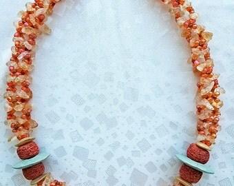 item 100 -  handmade beads colors knit
