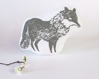 Plush Wolf Pillow. Hand Woodblock Printed. Choose Any Color. Made to Order.