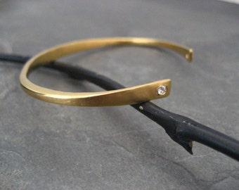 Cuff bracelet, gold open bangle, cubic zirconia, stacking bracelet, bezel setting, cuff with stones, handmade