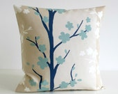 18x18 Pillow Cover, 18 Inch Duck Egg Blue Cushion Cover, Throw Pillow Cover, Slipcase, Toss Pillow, Throw Pillow Cover - Nordic Blossom Blue