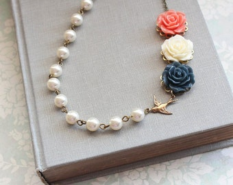 Rose Necklace Coral and Navy Blue Asymmetrical Necklace Wedding Jewelry Pearl Chain Ivory Cream Pearls Floral Jewellery Bird Necklace