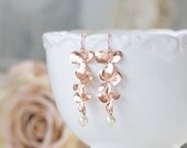 Rose Gold Earrings Pink Gold Cascading Orchid Flower Swarovski Cream Ivory Round Pearl Dangle Earrings Bridal Earrings Rose Gold Jewelry