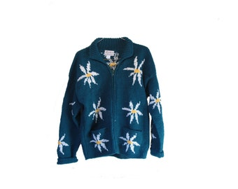 Handknit Daisy Sweater Jacket Vintage Teal Wool Floral Jacket Womens Size Large