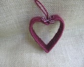 Heart Christmas Tree Ornament Primitive Heart Ornament Cranberry Jute Twine Ornament WWOFG SnowNoseCrafts