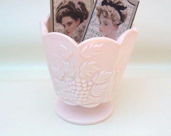 Vintage Pink Glass Vase, Pink Milk Glass, Jeannette Glass, Pink Flower Vase, Grape Decor