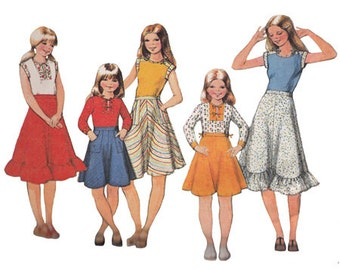 Girl's Front Tie Bias Flared Skirt Pattern with Set of Tops McCalls 5524 Size 7 Breast 26 Vintage 1970s Sewing Pattern