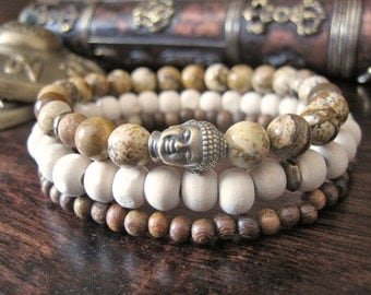 Mens Buddha Bracelet Set - Mens Bracelet with Picture Jasper, Brass Buddha, Sandalwood, Tulsi Wood Mens Gift