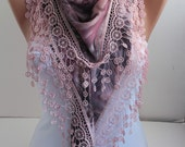 Cyber Monday Shawl Scarf Peacock Bird Feathers Cotton Pink Scarf Lace Shawl Scarf  Fashion Women Accessories Christmas Gifts For Her DIDUCI