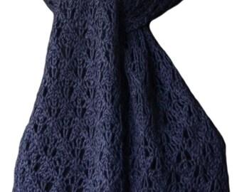 Hand Knit Scarf - Steel Blue Kitten Cashmere Silk Lace