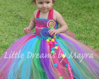 Candyland inspired tutu dress and matching hairpiece - Candy land inspired dress - lollipop inspired tutu dress size nb to 10years
