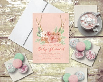 Rustic Chic Baby Shower Invitations - PRINTED / Baby Shower Invitation in Blush Pink Flowers and Antlers