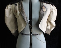 Victorian Steampunk Tailcoat Linen Jacket (Chimes Clockwork Officer Cropped Style) Custom Size