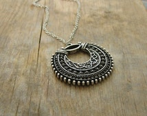 Tibetan Filigree Hoop Pendant Necklace - Silver Plated with Leather Cord or Chain - Boho Jewelry, Bohemian Necklace, Long Layering Pendant