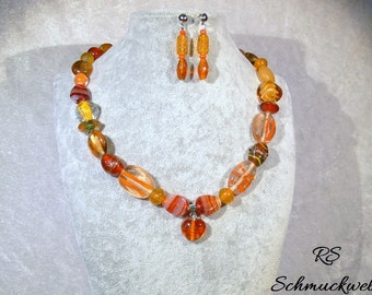 Jewelry set JuliGlut, 2 piece, SWL necklace, earrings, orange, glass bead necklace, Lampwork beads, summer, holiday, gift for you