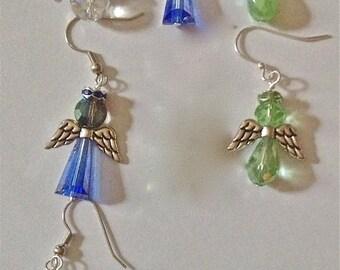 EARRINGS, Rainbow of Colors, Silver or Gold Wings, Surgical Steel, or .925 Sterling Earrings
