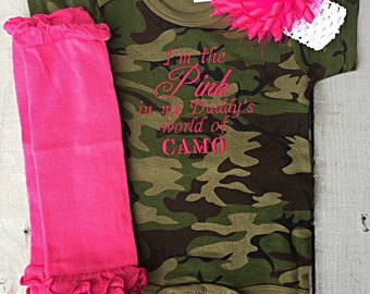 Camo, Camo Onesie, I'm the Pink in My Daddy's World of CAMO, baby girl embroidered onesie 3 piece outfit