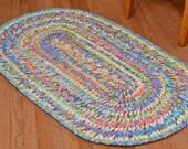 Hand Braided Rag Rug - First Spring Day Patchwork Bohemian Braid Oval