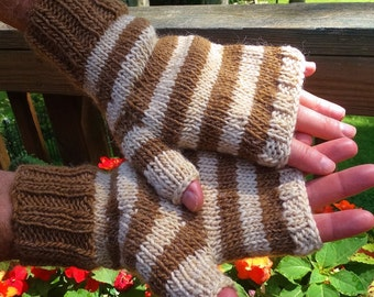 Fingerless Gloves Men's Handknit Cream and Tan Striped Merino Wool & Mohair Fingerless Gloves Handknit Men's Striped Handwarmers Wool Gloves