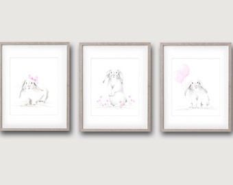 Bunny Nursery Prints, Rabbit Pencil Drawings, Girl Nursery Decor, Set of 3, White Bunnies, Pink Flowers, Girl Wall Art, Animal Sketches