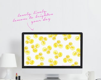 Lemon Computer Wallpaper - Downloadable Desktop Wallpaper - Cute Office Art - Lemon Wallpaper - Fruit Laptop Background - Watercolor Lemons