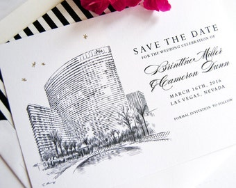 Aria Hotel, Las Vegas Destination Wedding Skyline Save the Date Cards (set of 25 cards and white envelopes)