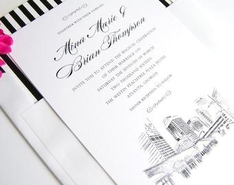 Atlanta, Georgia Skyline Wedding Invitations Package (Sold in Sets of 10 Invitations, RSVP Cards + Envelopes)