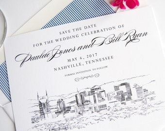 Nashville Skyline Wedding Save the Date Cards (set of 25 cards)