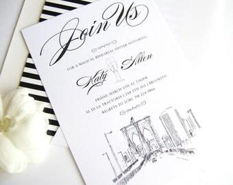 Brooklyn Skyline Hand Drawn Rehearsal Dinner Invitations (set of 25 cards)