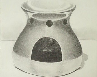 Oil Warmer Original Graphite Drawing