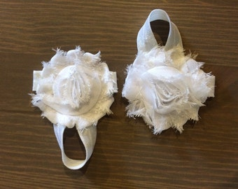 Barefoot Baby Sandals, White Barefoot Baby Sandals, Newborn Barefoot Sandals, Flower Sandals, Toddler Sandals, READY TO SHIP