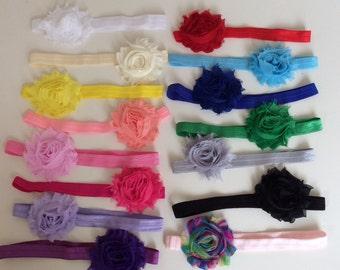 Shabby Flower Elasticated Stretch Baby Girl/ Girl Headband Sizes Newborn- Adult Regular Band