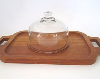 Goodwood Teak Wood Cheese Tray with Glass Dome