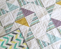 Modern  baby quilt-modern toddler quilt-baby quilt blanket-homemade baby quilt-baby quilts for sale-baby bedding-toddler bedding-geometric