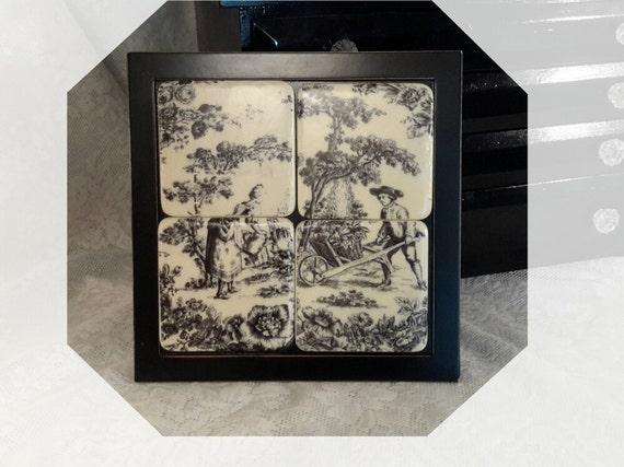Black Toile Decorating: Black & White Tile Plaque Framed Tile Plaque Toile Design