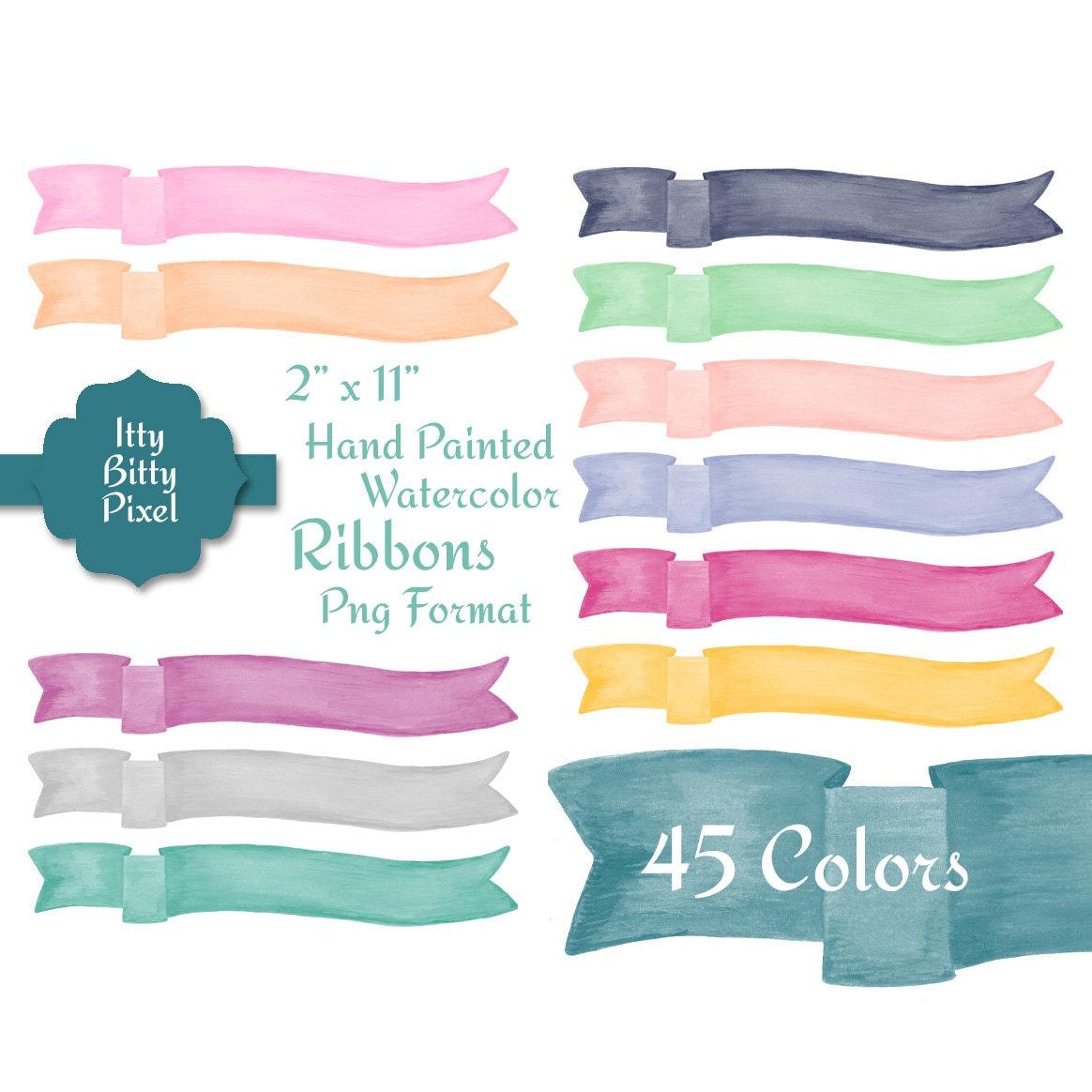 Watercolor Ribbon Clip Art Banner Hand Painted Digital