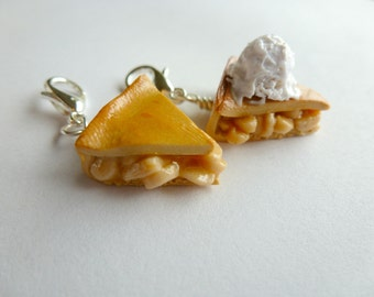 Apple Pie, Miniature Food Jewelry, Vanilla Ice Cream, Apple Pie Charm