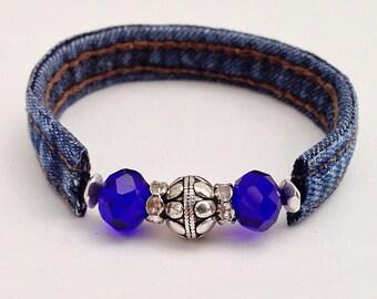 Denim Boho Cuff Bracelet, Repurposed Upcycled Jewelry Accessories, Bohemian Chic Braclet, Denim Blue Jean Bracelet